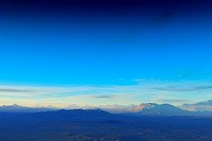 Dramatic mountains horizon 3d render