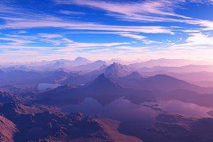 Mountain landscape with lakes 3d ren