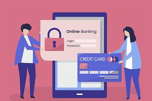 People and online banking concept