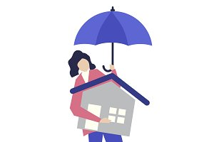 Woman and residential insurance