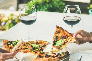 Summer dinner or lunch with pizza