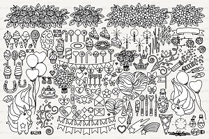 ♡ vector vector outline objects set
