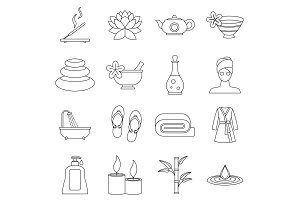 Spa treatments icons set, outline