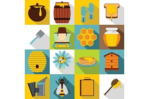 Apiary tools icons set, flat style