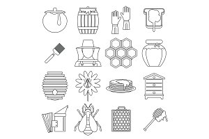 Apiary tools icons set, outline