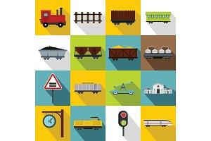 Railway icons set, flat style