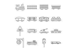 Railway icons set, outline style