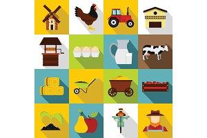 Farm icons set, flat style