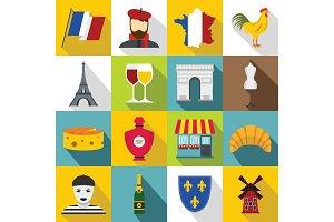 France travel icons set, flat style