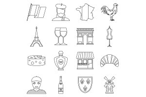 France travel icons set, outline