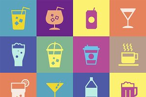 Refreshing drinks icons collection