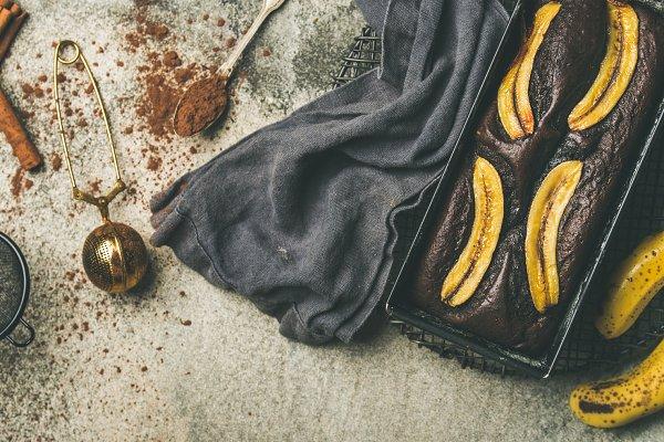Chocolate banana bread cake in