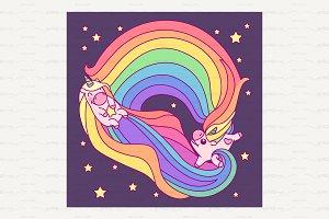 ♥ vector Cute rainbow unicorn