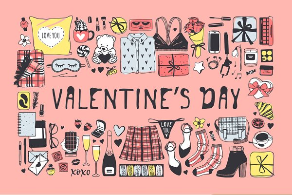 Illustrations: Vera Serg - Valentine set, 7 patterns, 19 cards