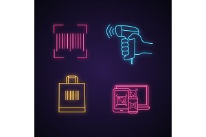 Barcodes neon light icons set