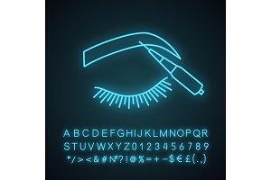 Microblading eyebrows neon icon
