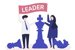 Business people with leadership flag