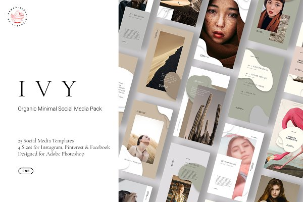 Social Media Templates: Nomad Visuals - IVY - Minimal Organic Social Kit