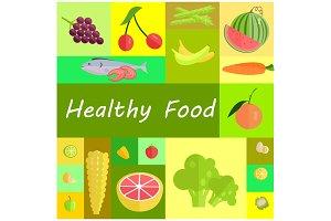 Healthy Organic Food Cartoon