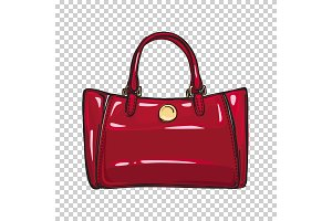 Fashionable Glossy Red Bag Isolated