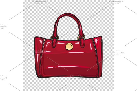 Fashionable Glossy Red Bag Isolated ~ Illustrations ~ Creative Market 329c524cbe