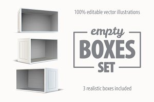 Set of white empty wooden boxes
