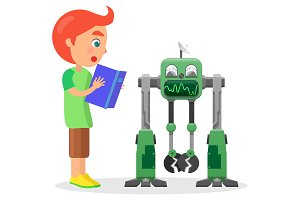 Little Boy with Book Looks at Robot