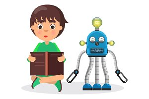 Boy Sits and Reads Book Beside Robot