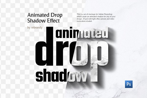 Animated Drop Shadow Effect PSD Mockup - PSD Mockups