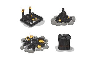 Set Firewood. Burned-Out Bonfire