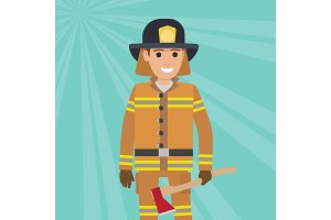 Firefighter in Uniform with Wooden