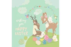 Cartoon Deers with cute bunnies
