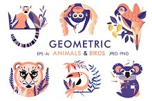 Geometric animals and birds by  in Illustrations