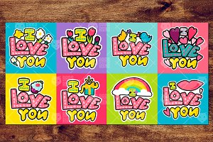 """""""I Love You"""" Stickers"""