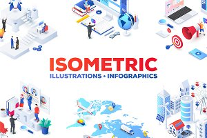 Isometric illustrations templates