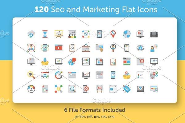 120 SEO and Marketing Flat Icons