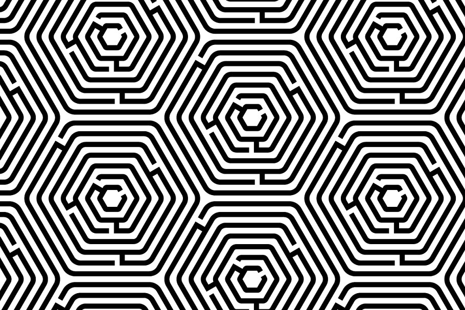 Maze puzzle black and white pattern