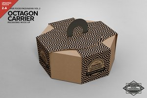 Octagon Box Carrier Packaging Mockup