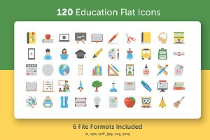 120 Flat Education Vector Icons