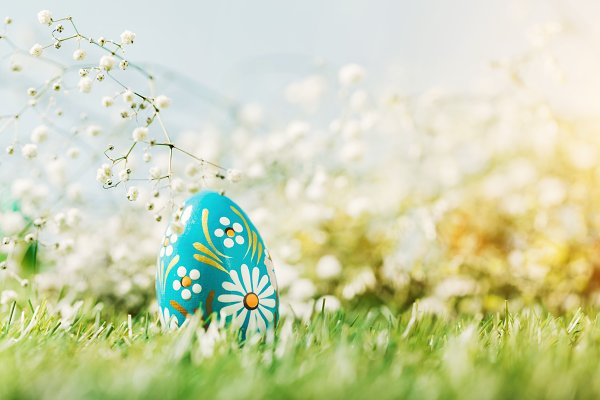 Colorful Easter egg on the green gr…
