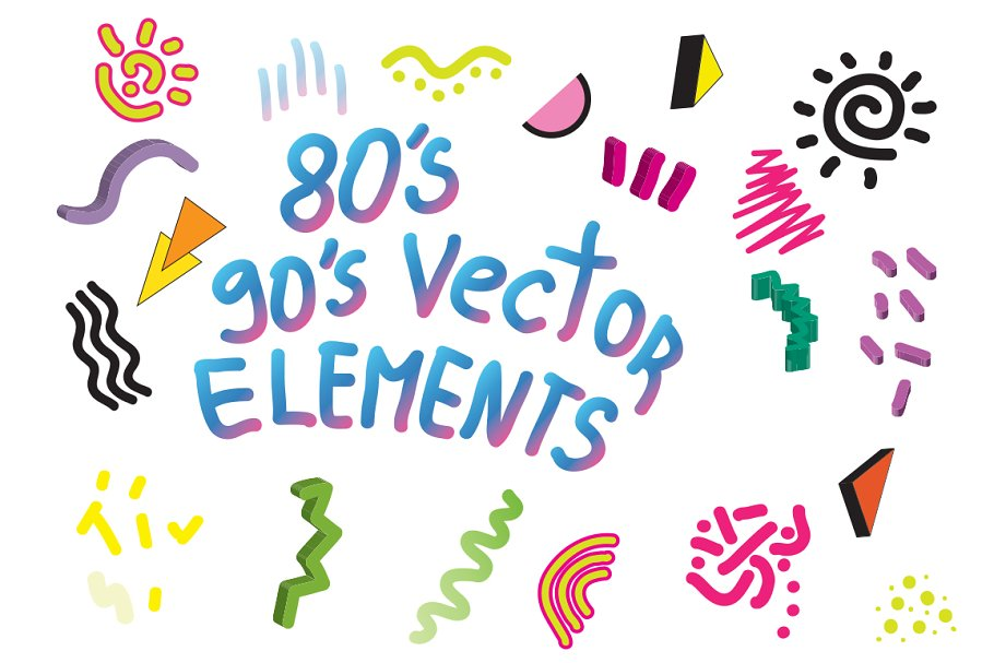 90's 80's Geometric Vector shapes ~ Illustrator Add-Ons