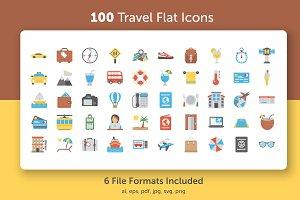 100 Flat Icons Set of Travel