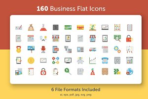160 Business Flat Vector Icons