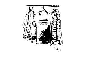 Hand drawn wardrobe sketch. T-shirt