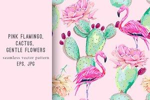 Cactus,flamingo,flowers pattern