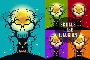 Skulls Tree Illusion - Illustration