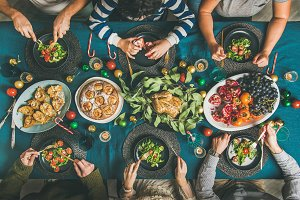 People eating different meals at