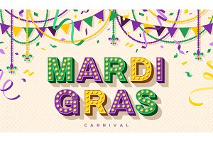 Mardi Gras retro typography design