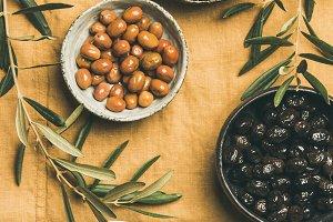 Mediterranean pickled olives and