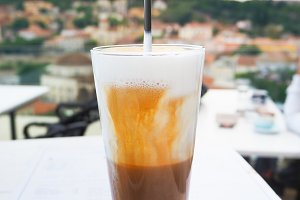 Cold coffee vith view of the Acropol